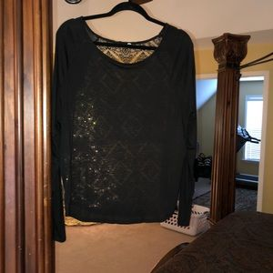 Long Sleeve Top with Lace Back Detail WORN ONCE